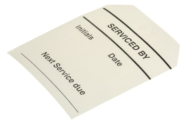 Product image for Equipment tag 'SERVICED BY',60x70mm