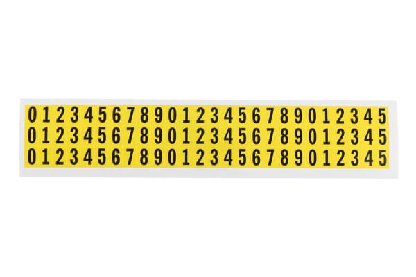 Product image for Yel symbol vinyl label,9.5mm numeric