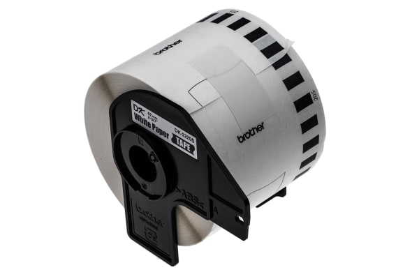 Product image for Brother Black on White Label Printer Tape, 62 mm Width, 30.48 m Length