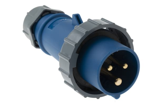 Product image for MENNEKES, AM-TOP IP67 Blue Cable Mount 3P Industrial Power Plug, Rated At 16.0A, 230.0 V