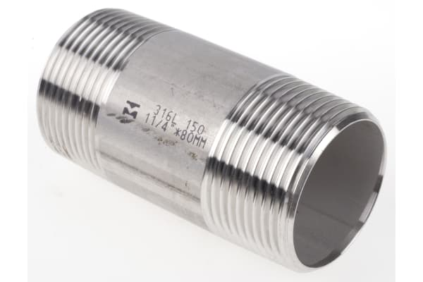 Product image for S/steel barrel nipple,1 1/4in BSPT M-M