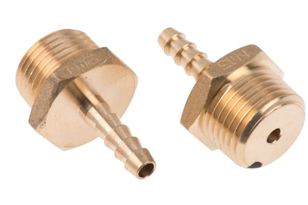 Product image for Brass hose tail,1/2 BSPP male 1/4in ID