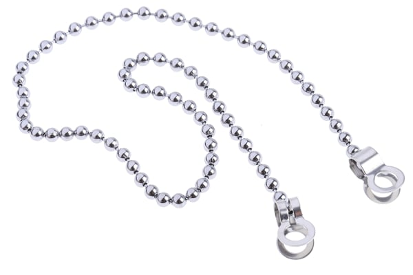 Product image for Chrome plate brass bead chain w/clip end