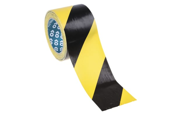 Product image for HAZARD WARNING TAPE BLK/YELL 75MM AT8