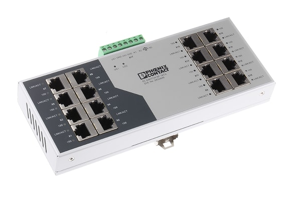 Product image for Phoenix Contact Ethernet Switch, 16 RJ45 port, 24V dc, 100Mbit/s Transmission Speed, DIN Rail Mount FL SWITCH SF 16TX