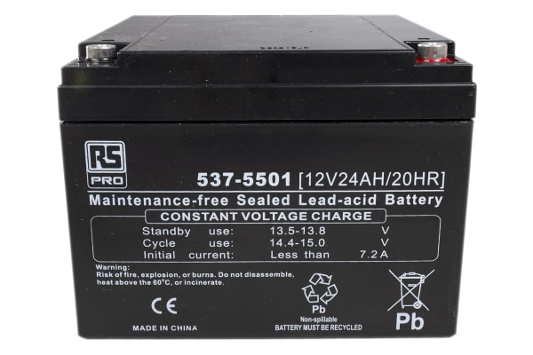 Product image for RS Sealed lead-acid battery,12V 24Ah