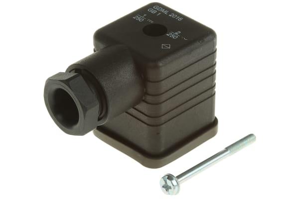 Product image for DIN 43650,2+PE M16 BLACK VARISTOR 250V2A