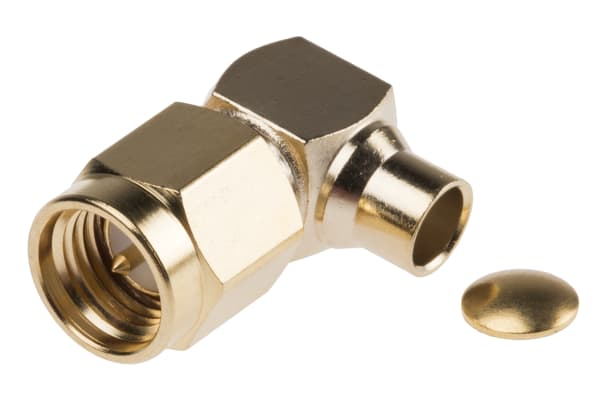Product image for Soldered SMA elbow plug for RG402 cable