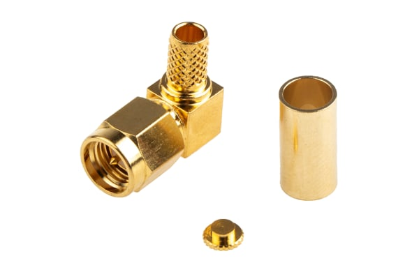 Product image for crimp SMA elbow plug for RG58 A cable