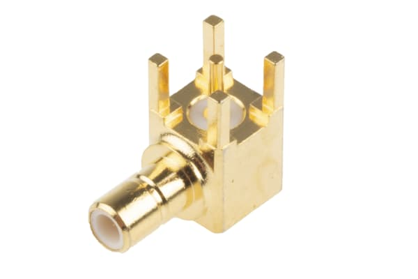 Product image for GoldPt SMB male 90deg PCB socket,50ohm