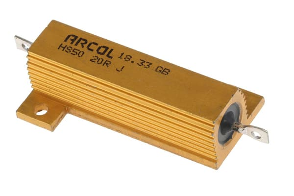 Product image for Arcol HS50 Series Aluminium Housed Axial Wire Wound Panel Mount Resistor, 20Ω ±5% 50W