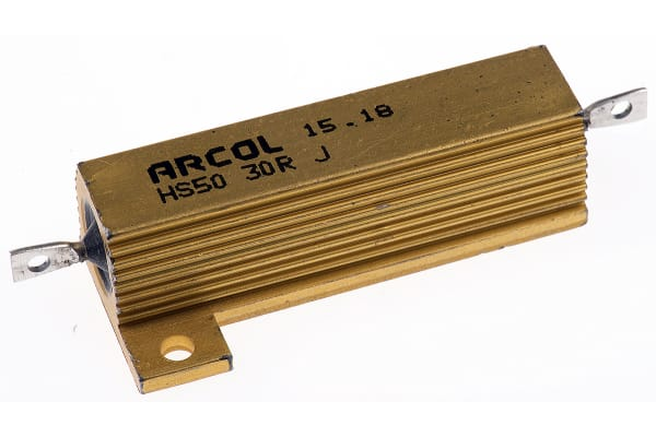 Product image for Arcol HS50 Series Aluminium Housed Axial Wire Wound Panel Mount Resistor, 30Ω ±5% 50W