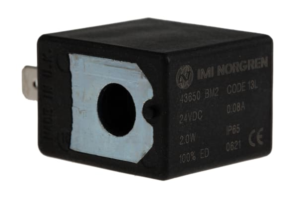 Product image for IMI Norgren 24V dc 2W Replacement Solenoid Coil, Compatible With V60, V61, V62, V63