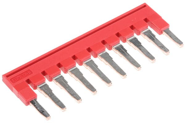 Product image for 10 way x 6mm plug in bridge,red