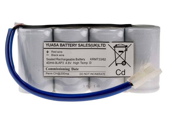 Product image for Yuasa 4.8V NiCd Rechargeable Battery Pack, 4Ah