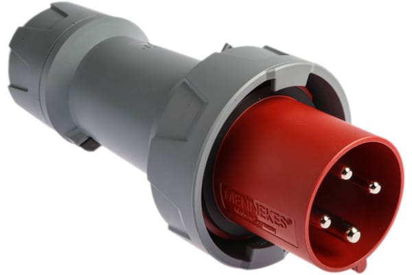 Product image for MENNEKES, PowerTOP Plus IP67 Red Cable Mount 4P Industrial Power Plug, Rated At 63.0A, 400 V