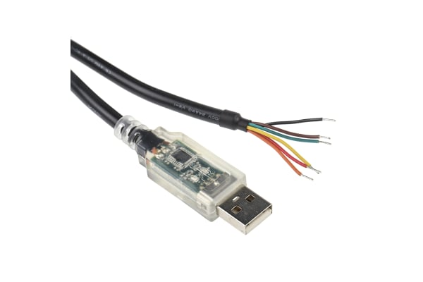 Product image for FTDI Chip 1.8m Male USB to Wire Ended Black Interface Converter Cable
