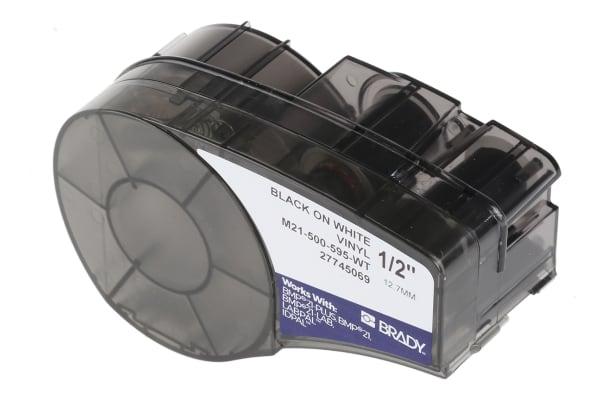 Product image for BLACK ON WHITE VINYL LABEL, 12.7MMX6.4M
