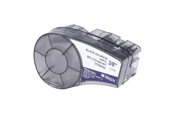 Product image for BLACK ON WHITE VINYL LABEL, 9.53MMX6.4M