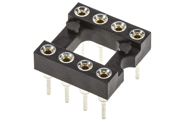 Product image for Preci-Dip 2.54mm Pitch Vertical 8 Way, Through Hole Turned Pin Open Frame IC Dip Socket, 1A