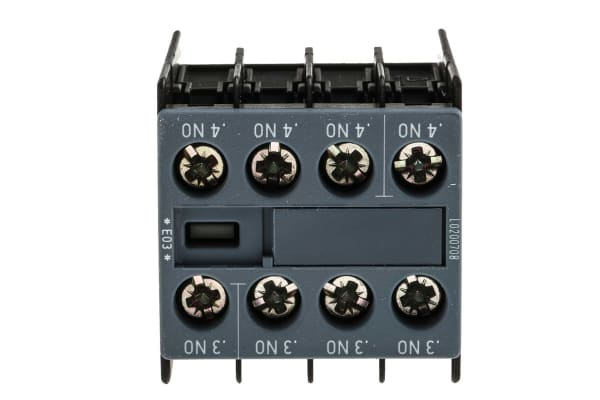 Product image for Siemens Sirius Innovation Auxiliary Contact - 4NO, 4 Contact, Snap-On, 6 A dc, 10 A ac