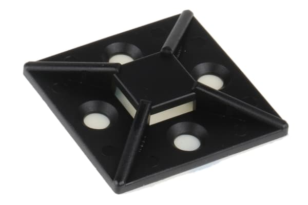 Product image for Black s/adhesive c/tie base, 38x38mm