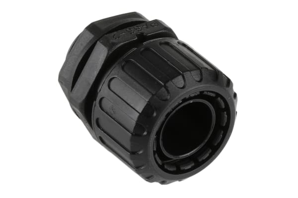 Product image for Adaptaflex M20 Straight Cable Conduit Fitting, Black 20mm nominal size