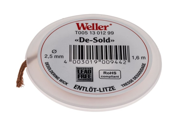 Product image for Weller 1.6m Desoldering Braid, Width 2.5mm
