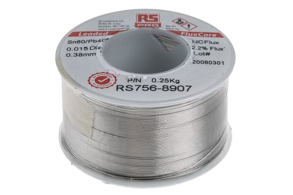 Product image for 60/40 tin-lead alloy solder,0.4mm, 250g