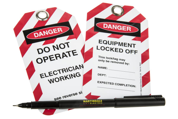 Product image for 10 x 'Do Not Operate, Electrician Working, Equipment Locked Off' Lockout Tag