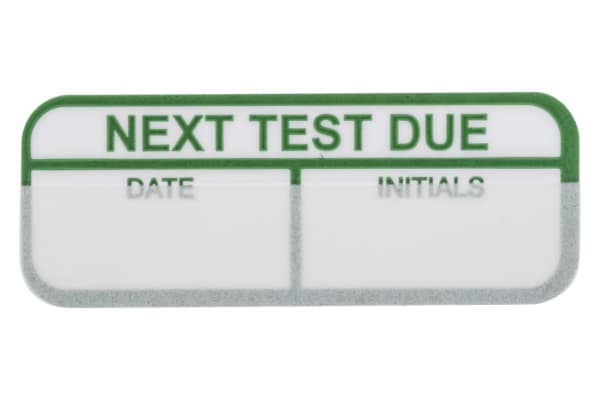 Product image for Green write-on label 'NEXT TEST DUE'