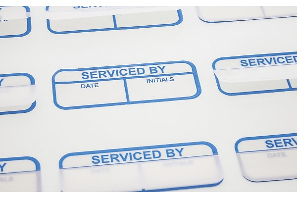 Product image for Blue writeon label 'SERVICED BY',40x15mm