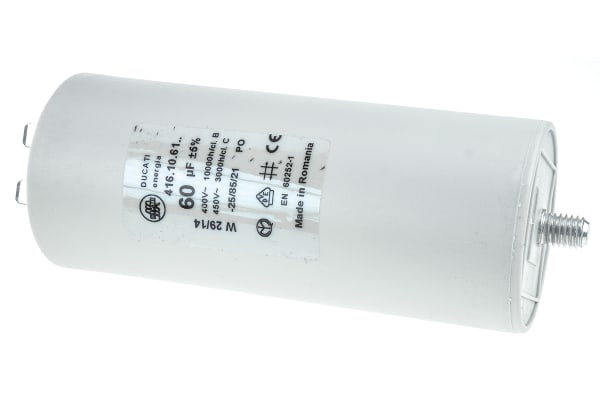 Product image for Ducati Energia 60μF Polypropylene Capacitor PP 450V ac ±5% Tolerance Stud Mount 4.16.10 Series