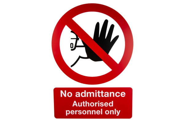 Product image for PP sign 'No admittance.only',420 x 297mm