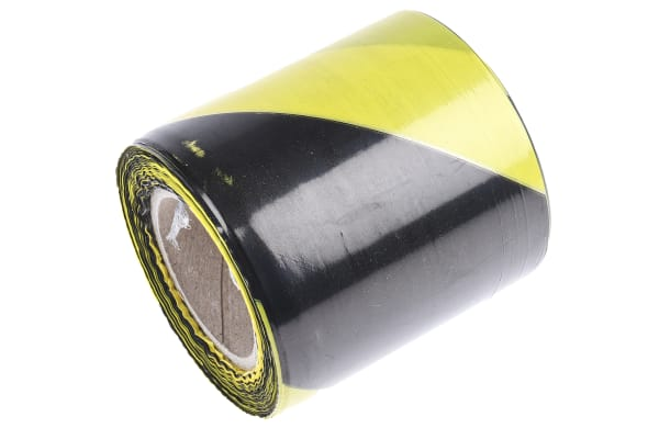 Product image for Barricade tape,Black/Yellow, 75mmx100m