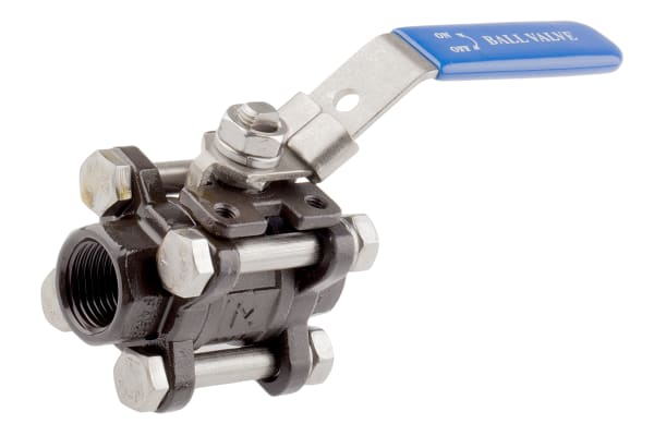 Product image for 3pc Full Bore Ball Valve,1/2in. BSPP F-F