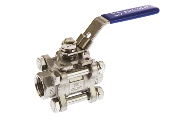 Product image for 3pc Full Bore Ball Valve,1/2in. S/steel