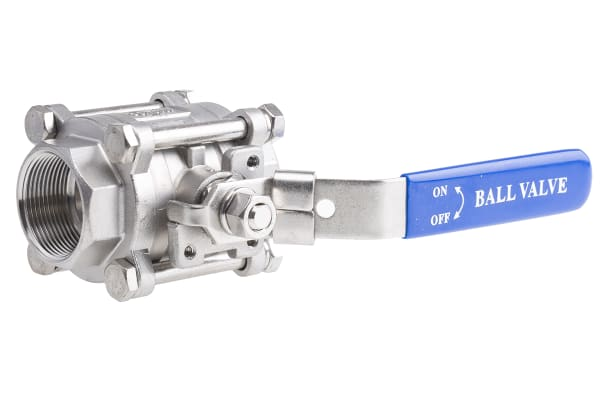 Product image for 3pc Full Bore Ball Valve,1 1/2in S/steel