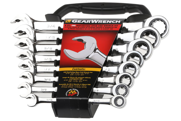 Product image for 8 PIECE SAE OPEN ENDED SPANNER SET