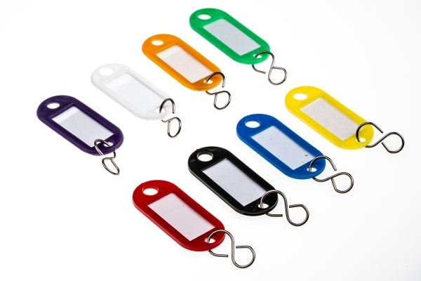 Product image for ASSORTED 8 COLOURS KEY TAGS BOX