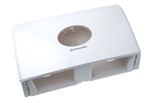 Product image for Kimberly Clark White Plastic Toilet Roll Dispenser, 300mm x 470mm x 130mm