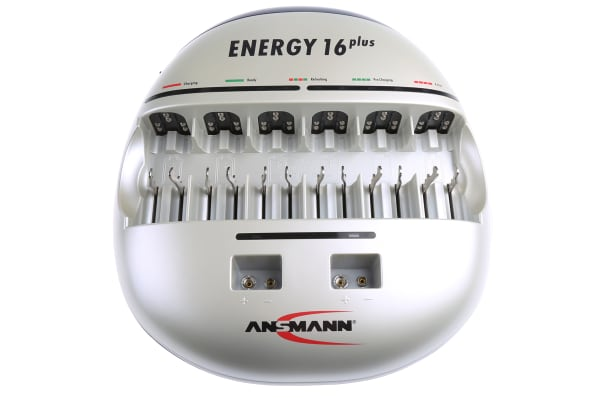 Product image for Ansmann Energy 16 Plus NiCd, NiMH 9V, AA, AAA, C, D Battery Charger with EURO, UKplug
