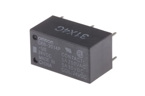 Product image for RELAY POWER PCB DPST-NC 5A 24VDC