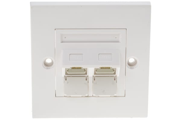 Product image for CAT6 STP FACEPLATE ANGLED 2 PORT