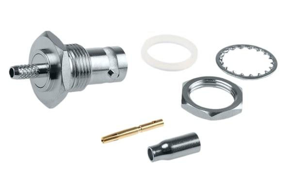 Product image for BNC bulkhead jack, crimp,50 Ohm,RG-174/U