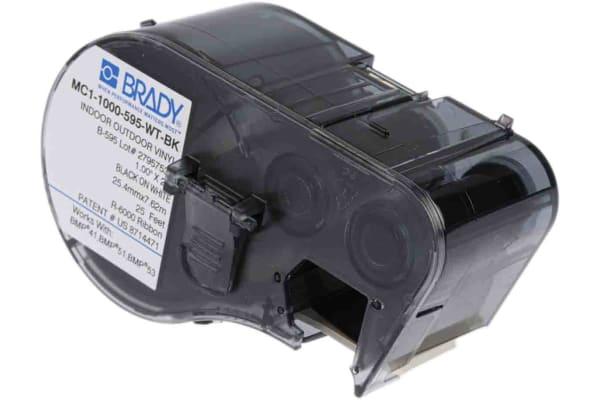 Product image for BLACK/WHITE PERMANENT VINYL TAPE 7.62M