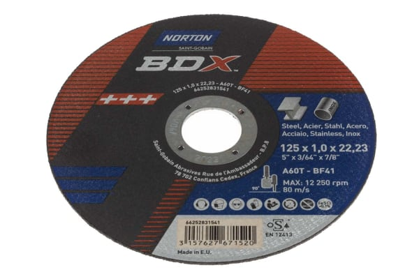 Product image for Norton Cutting Disc Ceramic Cutting Disc, 125mm x 1mm Thick, Medium Grade, P60 Grit, 5 in pack, BDX