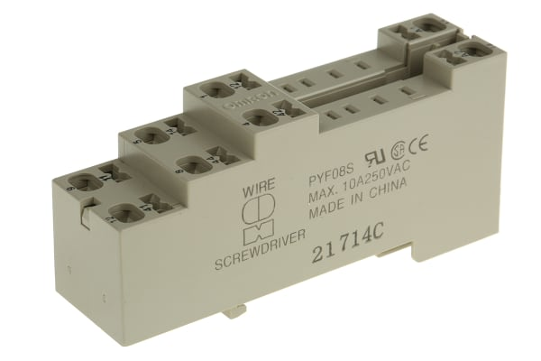 Product image for DIN Rail / Surface 8 Pin Relay Socket