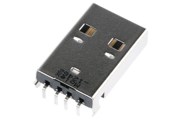 Product image for USB Type A Plug Through Hole Right Angle