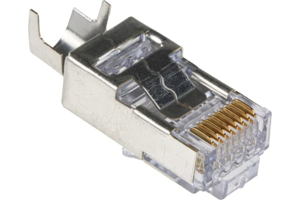 Product image for Cat6 RJ45 modular plug, w/strain relief